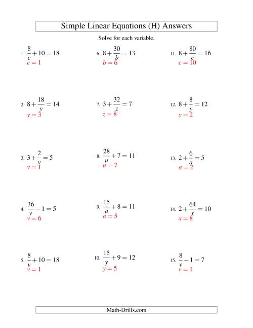 The Solving Linear Equations -- Form a/x ± b = c (H) Math Worksheet Page 2