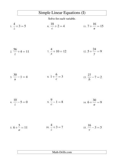 The Solving Linear Equations -- Form a/x ± b = c (I) Math Worksheet