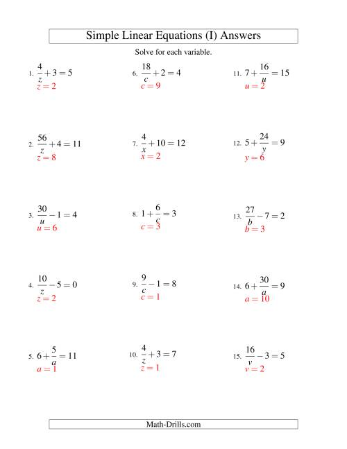 The Solving Linear Equations -- Form a/x ± b = c (I) Math Worksheet Page 2