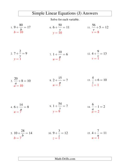 The Solving Linear Equations -- Form a/x ± b = c (J) Math Worksheet Page 2