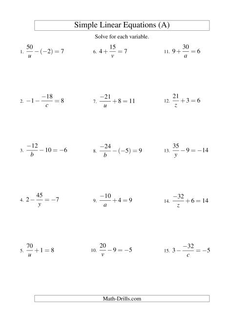The Solving Linear Equations (Including Negative Values) -- Form a/x ± b = c (A) Math Worksheet
