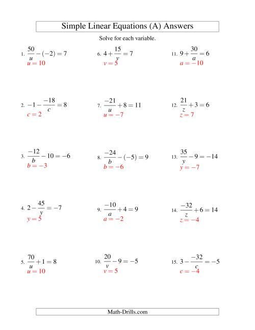 The Solving Linear Equations (Including Negative Values) -- Form a/x ± b = c (A) Math Worksheet Page 2