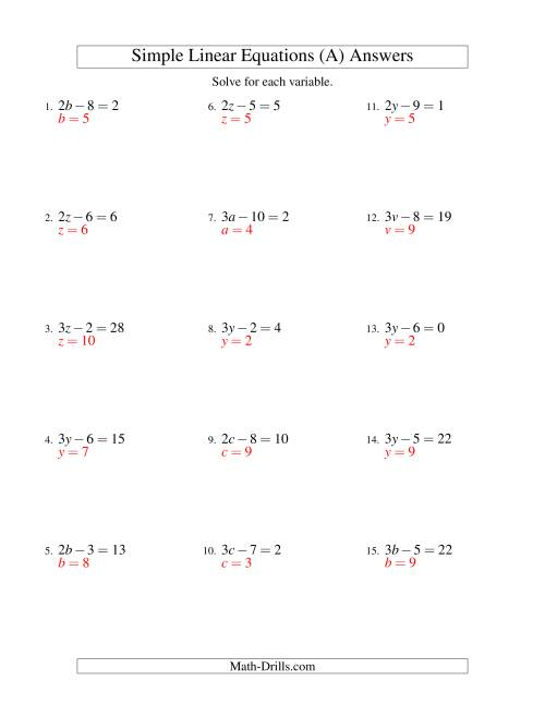 The Solving Linear Equations -- Form ax - b = c (A) Math Worksheet Page 2