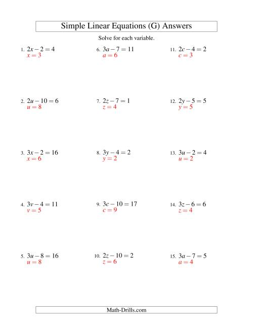 The Solving Linear Equations -- Form ax - b = c (G) Math Worksheet Page 2