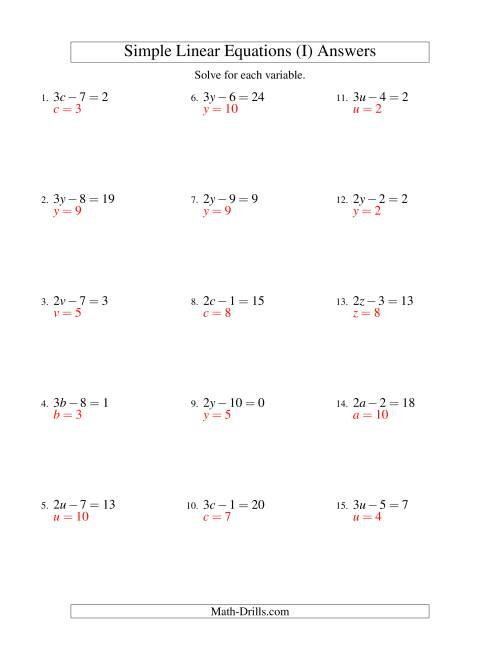 The Solving Linear Equations -- Form ax - b = c (I) Math Worksheet Page 2