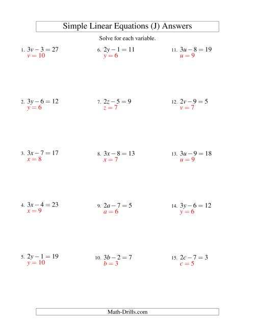 The Solving Linear Equations -- Form ax - b = c (J) Math Worksheet Page 2