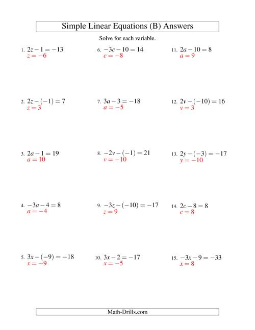 The Solving Linear Equations (Including Negative Values) -- Form ax - b = c (B) Math Worksheet Page 2