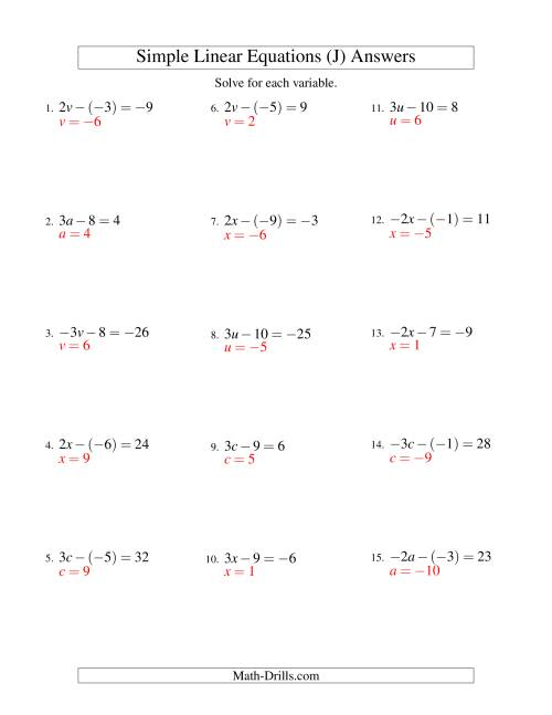 The Solving Linear Equations (Including Negative Values) -- Form ax - b = c (J) Math Worksheet Page 2