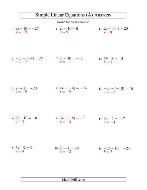 The Solving Linear Equations (Including Negative Values) -- Form ax - b = c (All) Math Worksheet Page 2