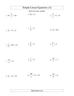 Solving Linear Equations -- Form ax + b = c Variations
