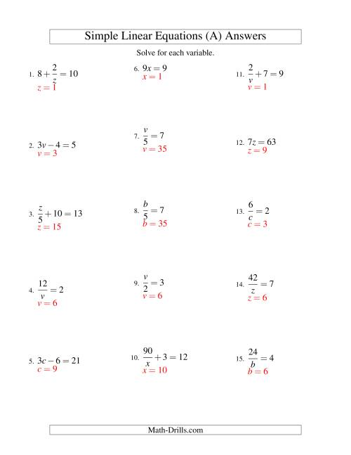 The Solving Linear Equations -- Form ax + b = c Variations (A) Math Worksheet Page 2