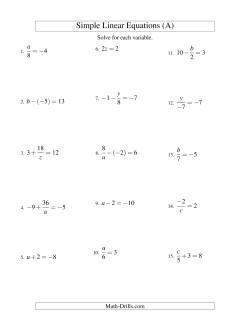 Solving Linear Equations (Including Negative Values) -- Form ax + b = c Variations (A)