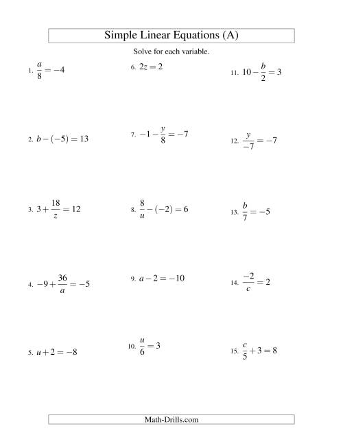 The Solving Linear Equations (Including Negative Values) -- Form ax + b = c Variations (A) Math Worksheet