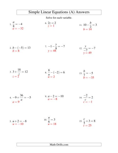 The Solving Linear Equations (Including Negative Values) -- Form ax + b = c Variations (A) Math Worksheet Page 2