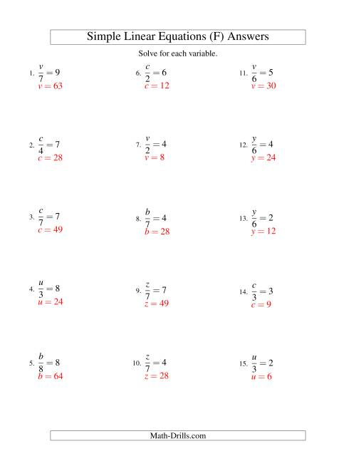 The Solving Linear Equations -- Form x/a = c (F) Math Worksheet Page 2