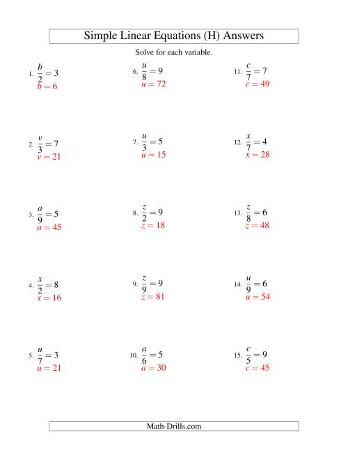 The Solving Linear Equations -- Form x/a = c (H) Math Worksheet Page 2