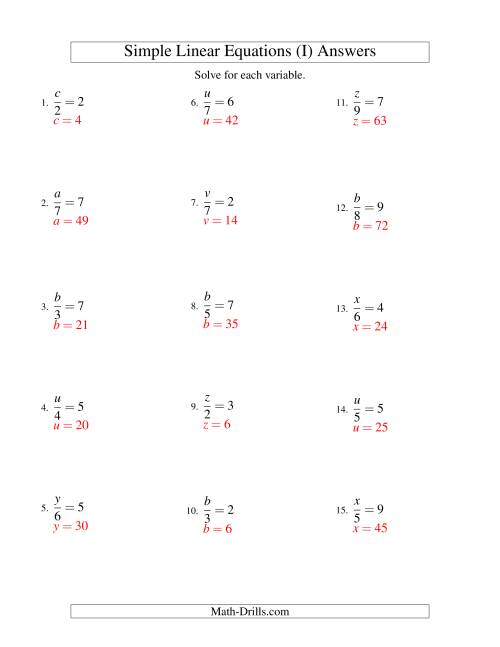 The Solving Linear Equations -- Form x/a = c (I) Math Worksheet Page 2