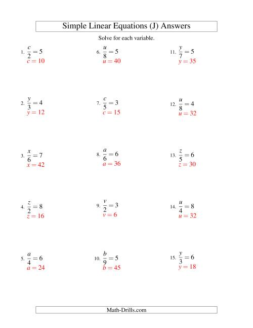 The Solving Linear Equations -- Form x/a = c (J) Math Worksheet Page 2