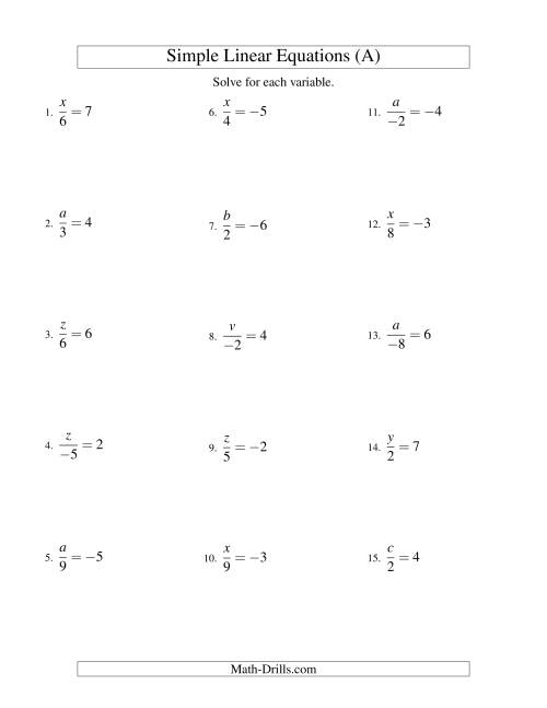 The Solving Linear Equations (Including Negative Values) -- Form x/a = c (A) Math Worksheet