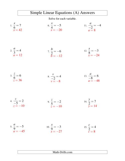 The Solving Linear Equations (Including Negative Values) -- Form x/a = c (A) Math Worksheet Page 2