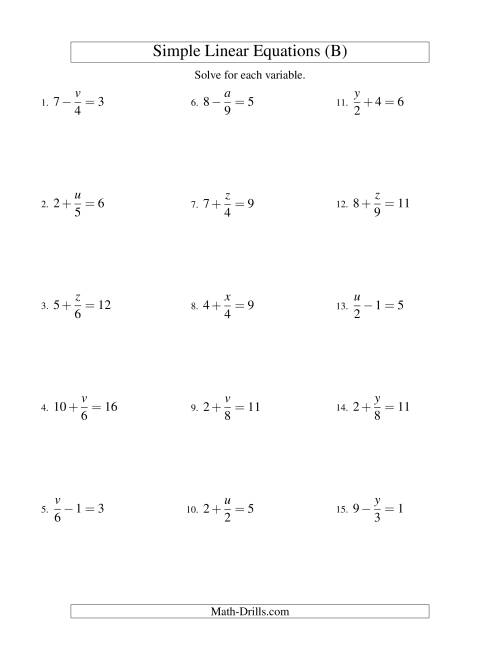 The Solving Linear Equations -- Form x/a ± b = c (B) Math Worksheet