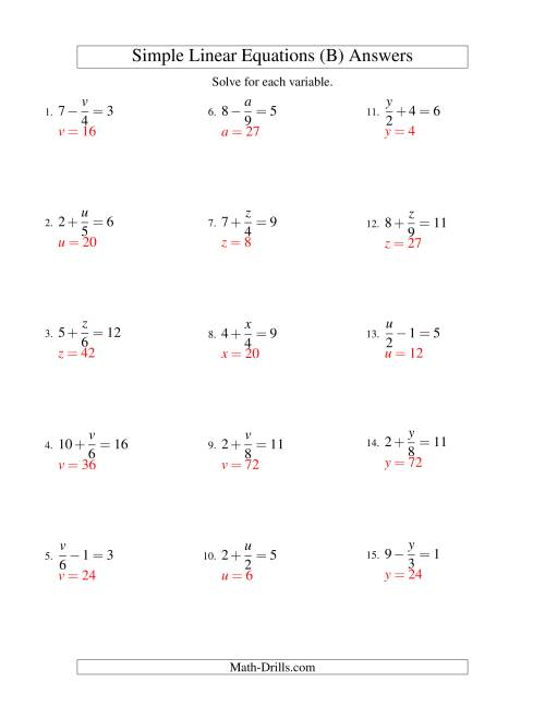 The Solving Linear Equations -- Form x/a ± b = c (B) Math Worksheet Page 2