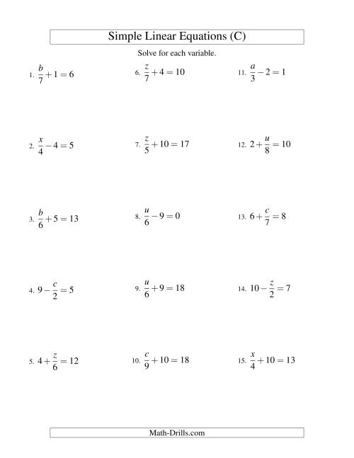 The Solving Linear Equations -- Form x/a ± b = c (C) Math Worksheet