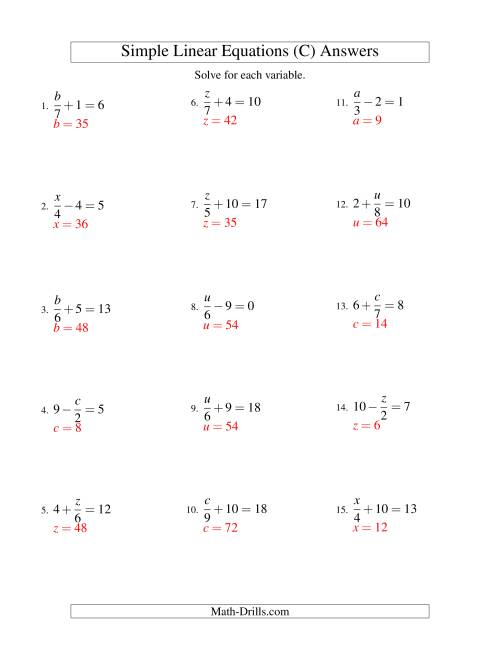 The Solving Linear Equations -- Form x/a ± b = c (C) Math Worksheet Page 2