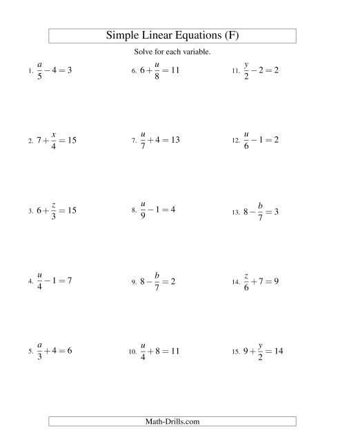 The Solving Linear Equations -- Form x/a ± b = c (F) Math Worksheet