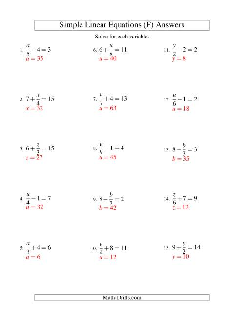 The Solving Linear Equations -- Form x/a ± b = c (F) Math Worksheet Page 2