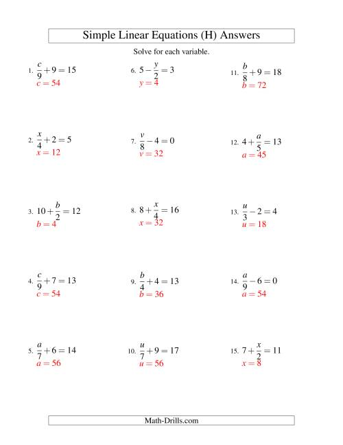 The Solving Linear Equations -- Form x/a ± b = c (H) Math Worksheet Page 2