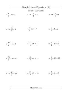 Solving Linear Equations -- Mixture of Forms x/a ± b = c and a/x ± b = c