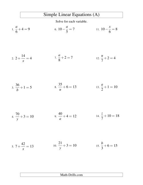 The Solving Linear Equations -- Mixture of Forms x/a ± b = c and a/x ± b = c (A) Math Worksheet