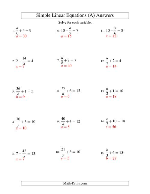 The Solving Linear Equations -- Mixture of Forms x/a ± b = c and a/x ± b = c (A) Math Worksheet Page 2