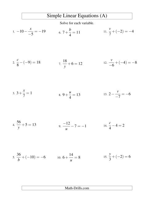 The Solving Linear Equations (Incuding Negative Values) -- Mixture of Forms x/a ± b = c and a/x ± b = c (A) Math Worksheet