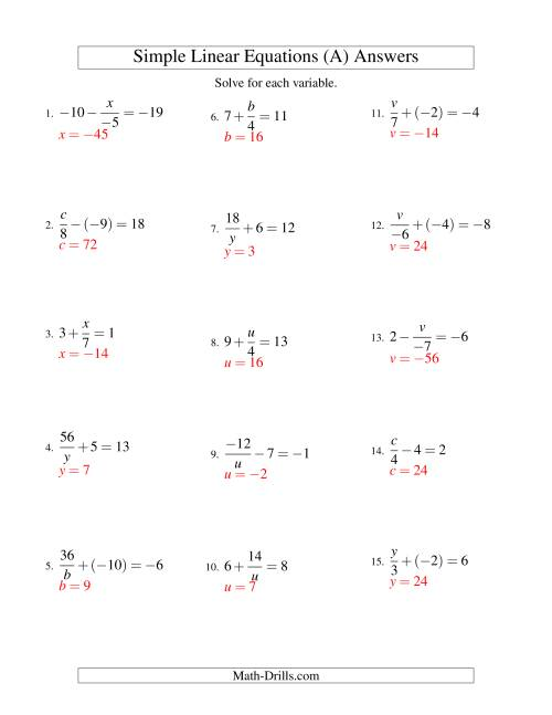 Worksheets Linear Equations Worksheet solving linear equations incuding negative values mixture of worksheet page 1 the forms x