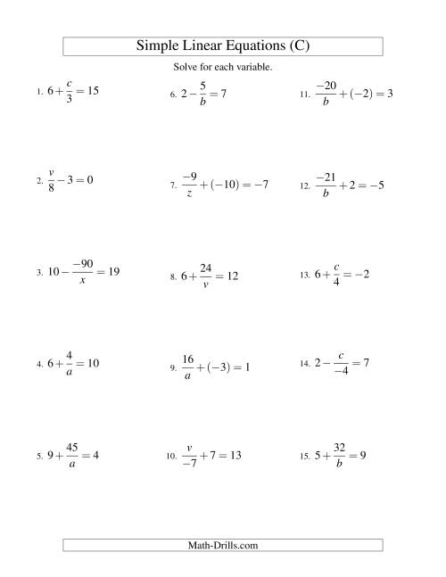 The Solving Linear Equations (Incuding Negative Values) -- Mixture of Forms x/a ± b = c and a/x ± b = c (C) Math Worksheet