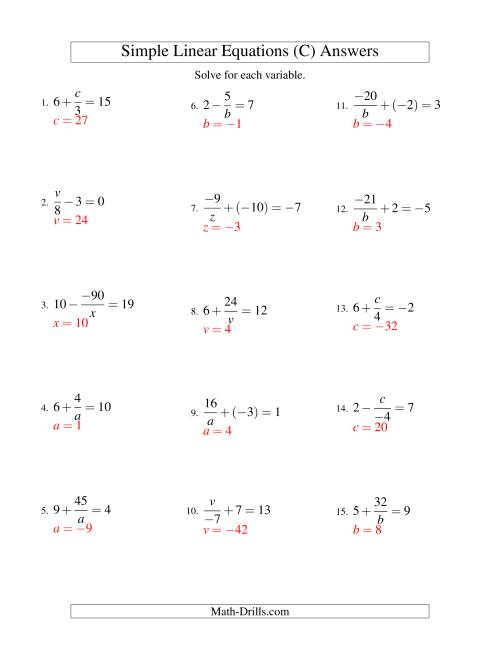 The Solving Linear Equations (Incuding Negative Values) -- Mixture of Forms x/a ± b = c and a/x ± b = c (C) Math Worksheet Page 2