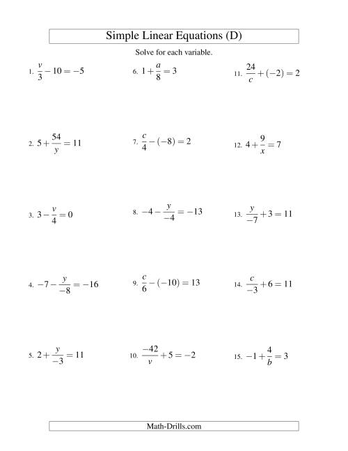 The Solving Linear Equations (Incuding Negative Values) -- Mixture of Forms x/a ± b = c and a/x ± b = c (D) Math Worksheet