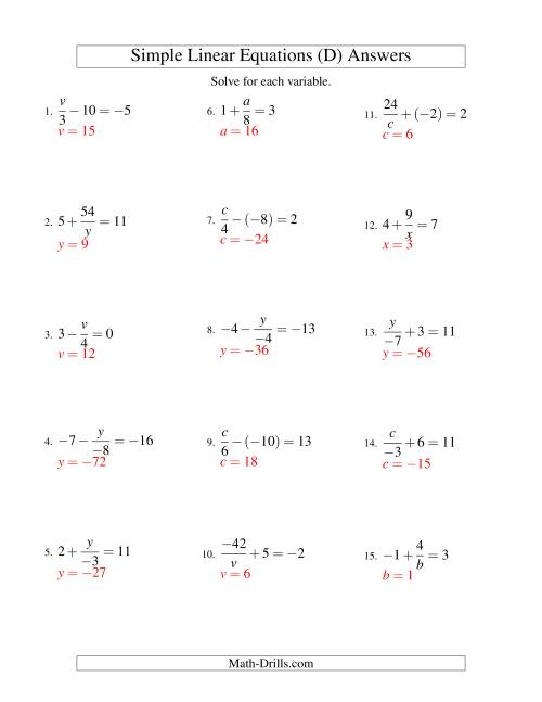 The Solving Linear Equations (Incuding Negative Values) -- Mixture of Forms x/a ± b = c and a/x ± b = c (D) Math Worksheet Page 2