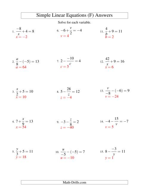 The Solving Linear Equations (Incuding Negative Values) -- Mixture of Forms x/a ± b = c and a/x ± b = c (F) Math Worksheet Page 2