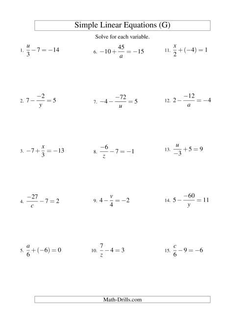 The Solving Linear Equations (Incuding Negative Values) -- Mixture of Forms x/a ± b = c and a/x ± b = c (G) Math Worksheet