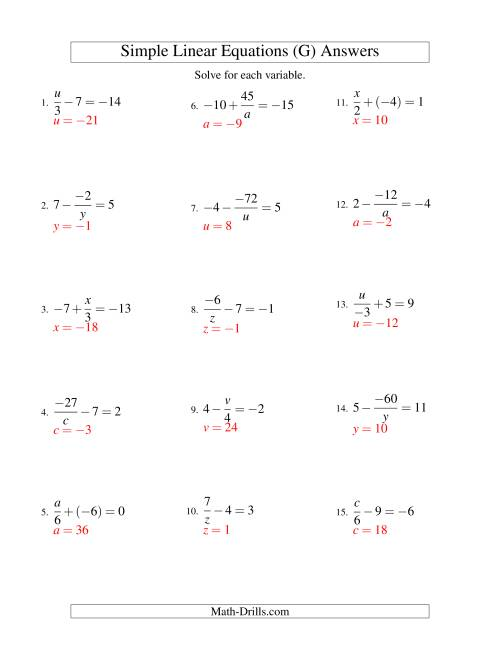 The Solving Linear Equations (Incuding Negative Values) -- Mixture of Forms x/a ± b = c and a/x ± b = c (G) Math Worksheet Page 2