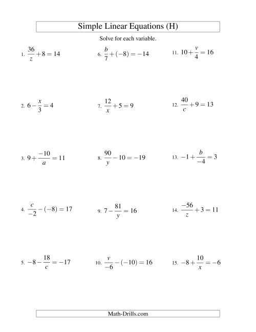 The Solving Linear Equations (Incuding Negative Values) -- Mixture of Forms x/a ± b = c and a/x ± b = c (H) Math Worksheet