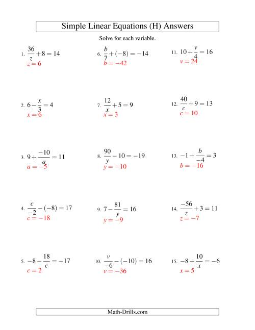 The Solving Linear Equations (Incuding Negative Values) -- Mixture of Forms x/a ± b = c and a/x ± b = c (H) Math Worksheet Page 2