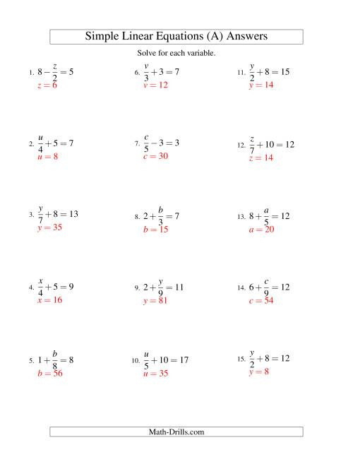 The Solving Linear Equations -- Form x/a ± b = c (All) Math Worksheet Page 2