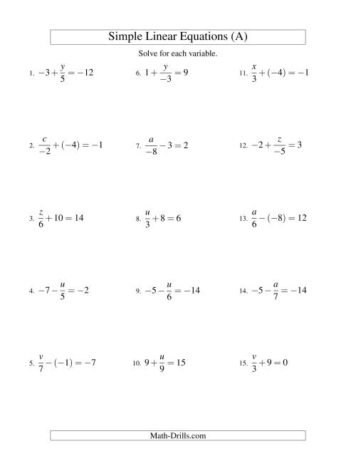 The Solving Linear Equations (Including Negative Values) -- Form x/a ± b = c (A) Math Worksheet