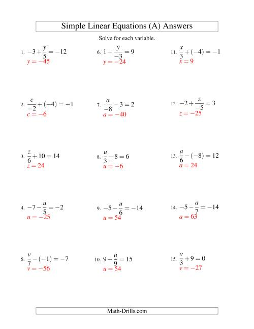 The Solving Linear Equations (Including Negative Values) -- Form x/a ± b = c (A) Math Worksheet Page 2