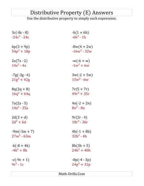 The Using the Distributive Property (All Answers Include Exponents) (E) Math Worksheet Page 2