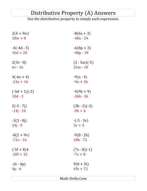 Using the Distributive Property (Answers Do Not Include ...